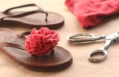 DIY fabric flower decorated flip-flops