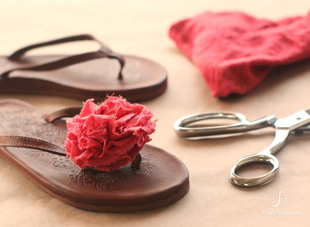 DIY fabric flower decorated flip-flops