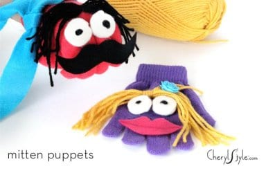 DIY mitten puppets is the ideal craft for lone mittens to find friends