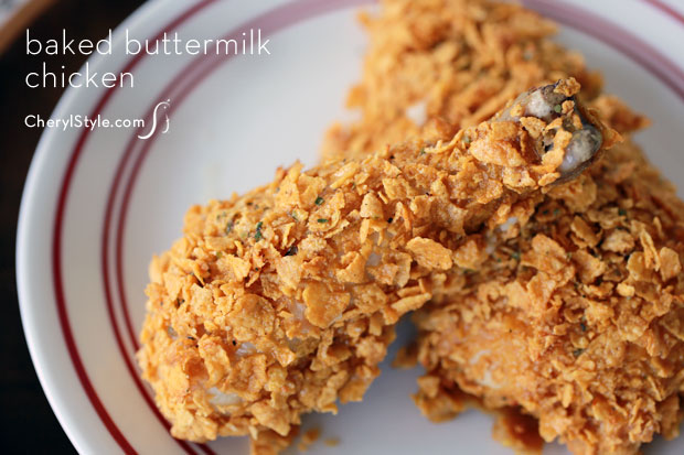 Moist baked buttermilk chicken with cornflakes and homemade seasonings