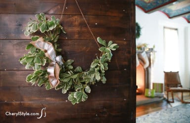 DIY swag wreath using fresh greens
