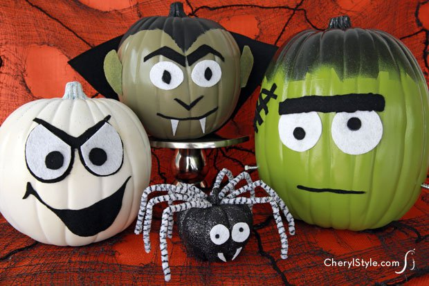 10 no carve pumpkin ideas primp your 2 features mom 4 - Halloween Pumpkin Designs Without Carving