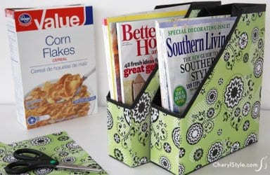 upcycled cereal box organizer for your magazines