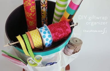DIY wrapping paper organizer with ribbon holder