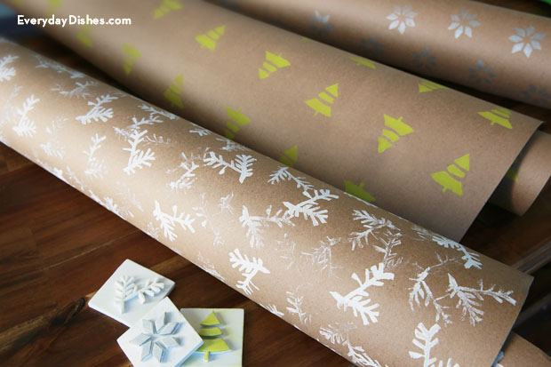 Hand stamped giftwrap and DIY stamp