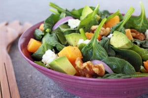 This flavorful #spinach and #ButternutSquash with #avocado salad is calorie conscious like a salad but eats like a meal. recipe on www.Everyday Dishes & DIY.com