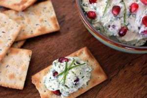This goat cheese and pomegranate spread is made with garden fresh herbs and juicy pomegranate seeds. This dip recipe has big flavor—and the ingredients are good for you too! For this #GoatCheese & #pomegranate spread recipe, visit everydaydishes.com