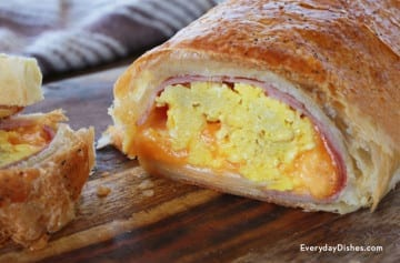 Easy breakfast stromboli with ham, scrambled eggs and cheese