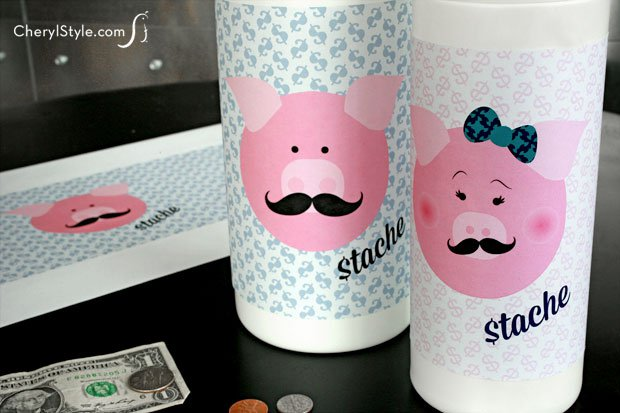 Make a quick and easy wipes container piggy bank for kids with printable