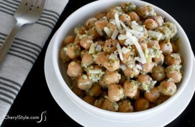This super-simple chickpea pesto salad comes together in a flash!
