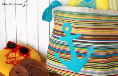 No-sew DIY tote bag. Turn a swag bag into an awesome beach bag!