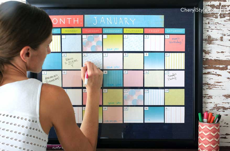 Whiteboard Calendar Diy : Diy dry erase calendar everyday dishes
