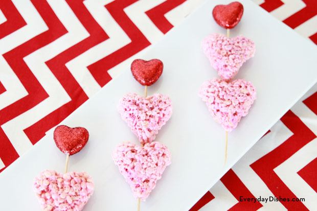 Rice Krispies treat hearts for Valentine's Day