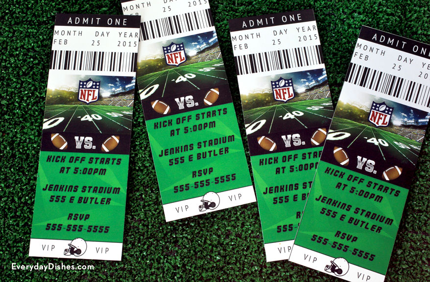 Football ticket invitations