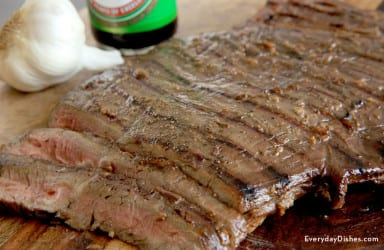 Grilled soy-marinated flank steak
