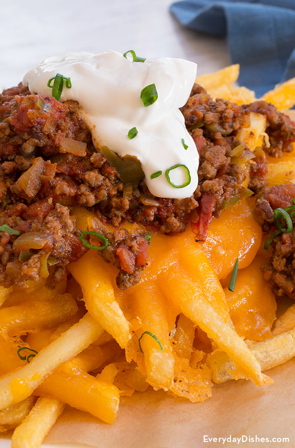 Baked chili cheese fries recipe