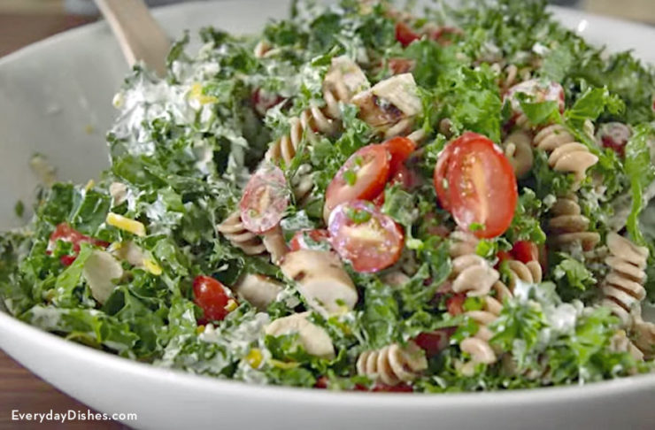 Chicken and kale pasta salad recipe video