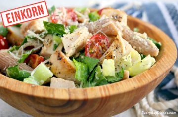 Chicken Caesat einkorn pasta salad recipe