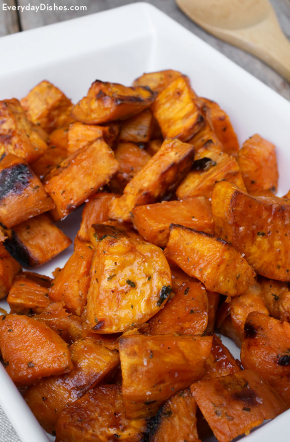 Maple-roasted sweet potatoes recipe