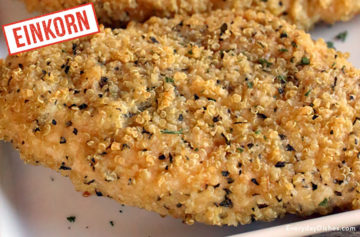 Einkorn quinoa-crusted baked chicken recipe