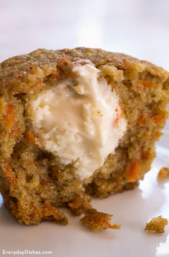 carrot cake cupcakes with filling inside