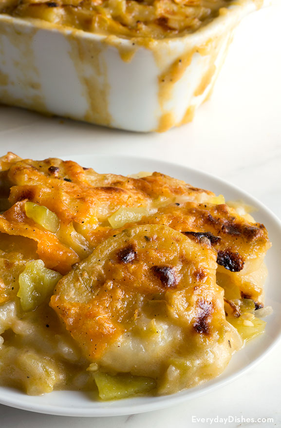 Green chili potatoes au gratin recipe