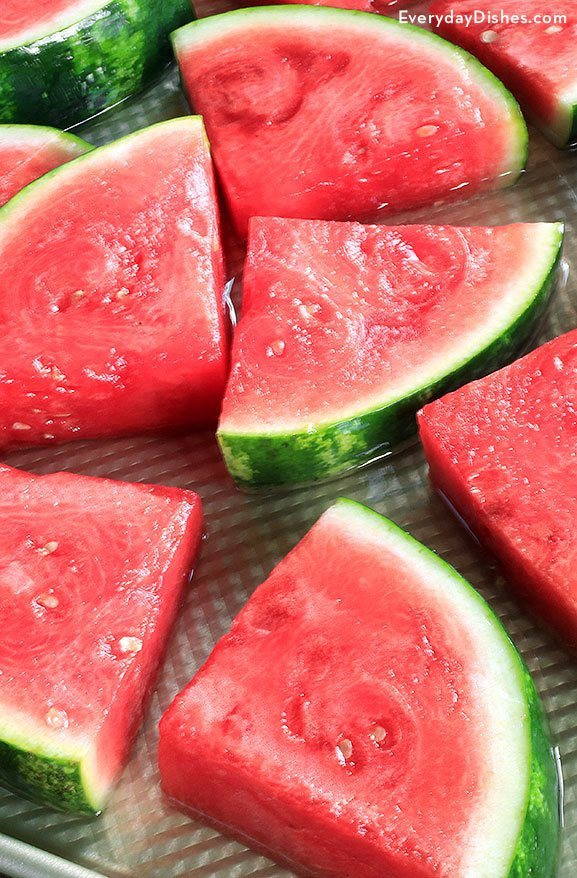 Coconut rum infused watermelon wedges video