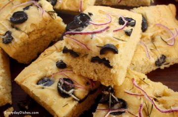 Black olive and rosemary einkorn focaccia bread