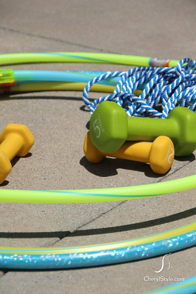 DIY hula hoop obstacle course pool game