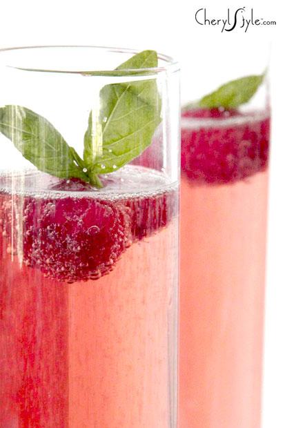 Basil raspberry Rose Champagne cocktail