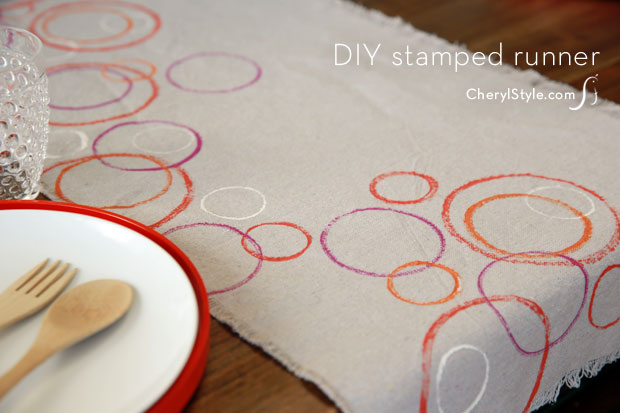 Stamped drop cloth runner