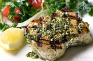 Grilled halibut with pesto sauce