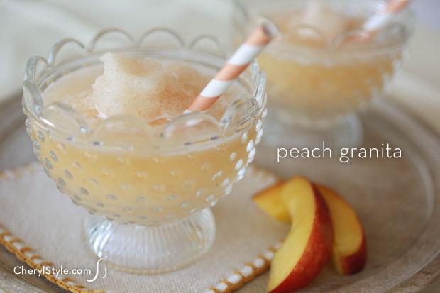 Peach granita – an adult slushy with rum