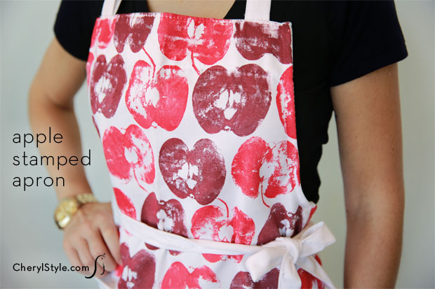 Easy and affordable apple stamped apron