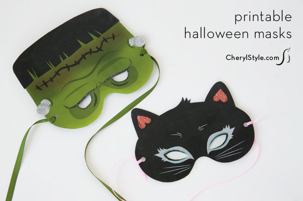 photo relating to Free Printable Halloween Masks called Frankenstein and black cat printable Halloween masks