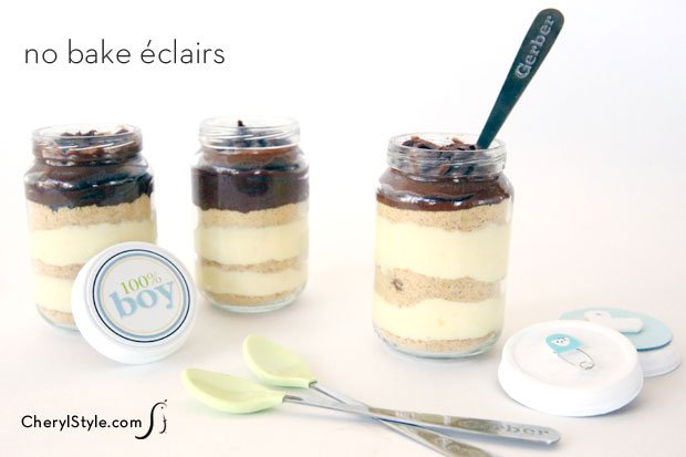 No bake éclairs with baby shower printable
