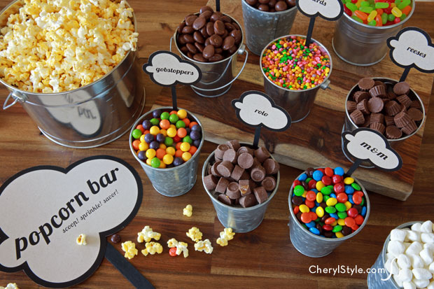 DIY popcorn bar with printable labels