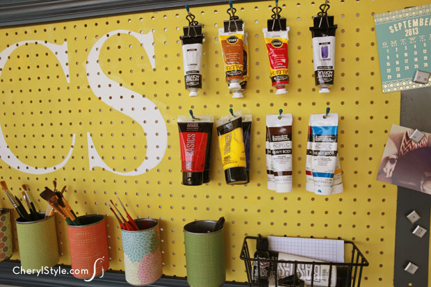 Paint pegboard organizer for your craft room