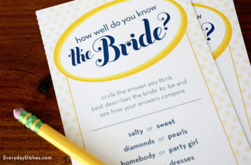 Printable Bridal Shower Game