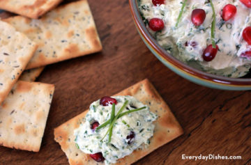Goat cheese pomegranate dip with fresh herbs