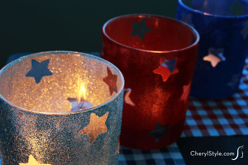 How to make patriotic candle holders using star stickers and glitter