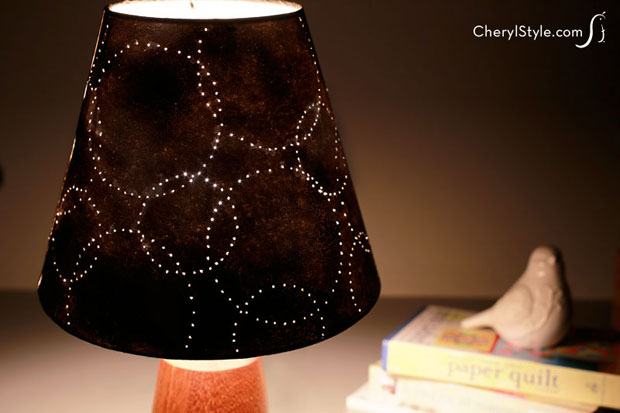 quick & easy #DIYLampshade looks like punched tin without the work | instructions on CherylStyle.com
