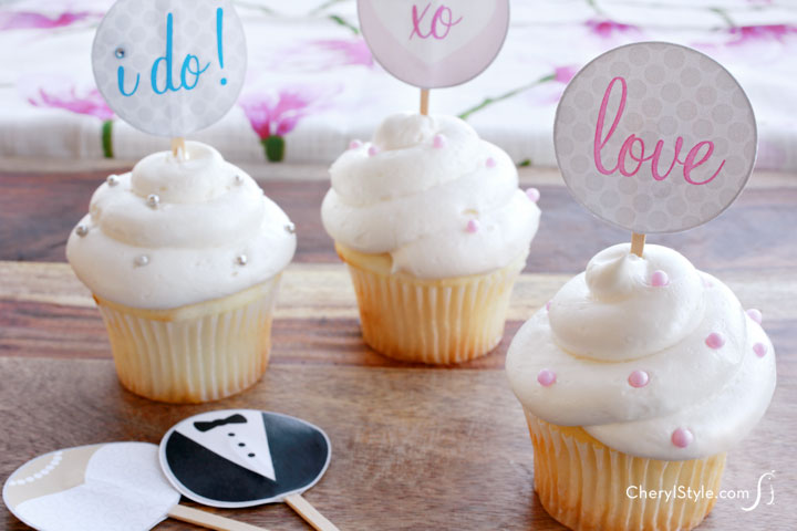 Make printable bridal cupcake toppers for your bridal shower