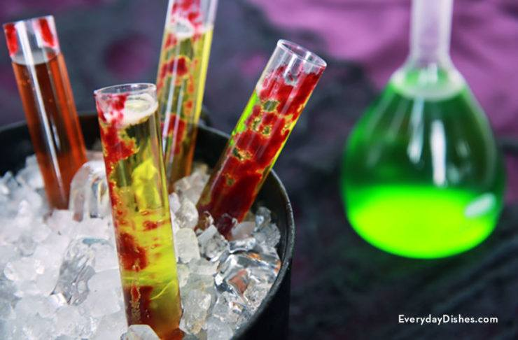 Mind Eraser and Frankenstein's blood Halloween test tube shots