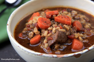 Beef, barley and vegetable soup recipe