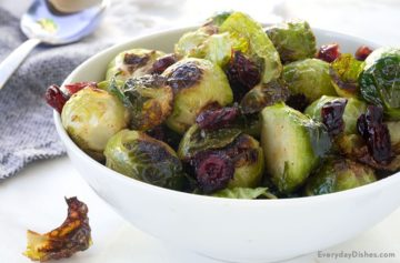 Quick Roasted Brussels Sprouts with Cranberries Recipe