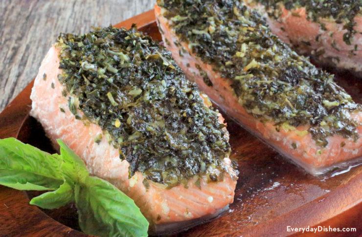Basil Parmesan roasted salmon recipe