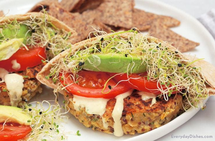 Chickpea Quinoa Burgers Recipe in Pita Pockets