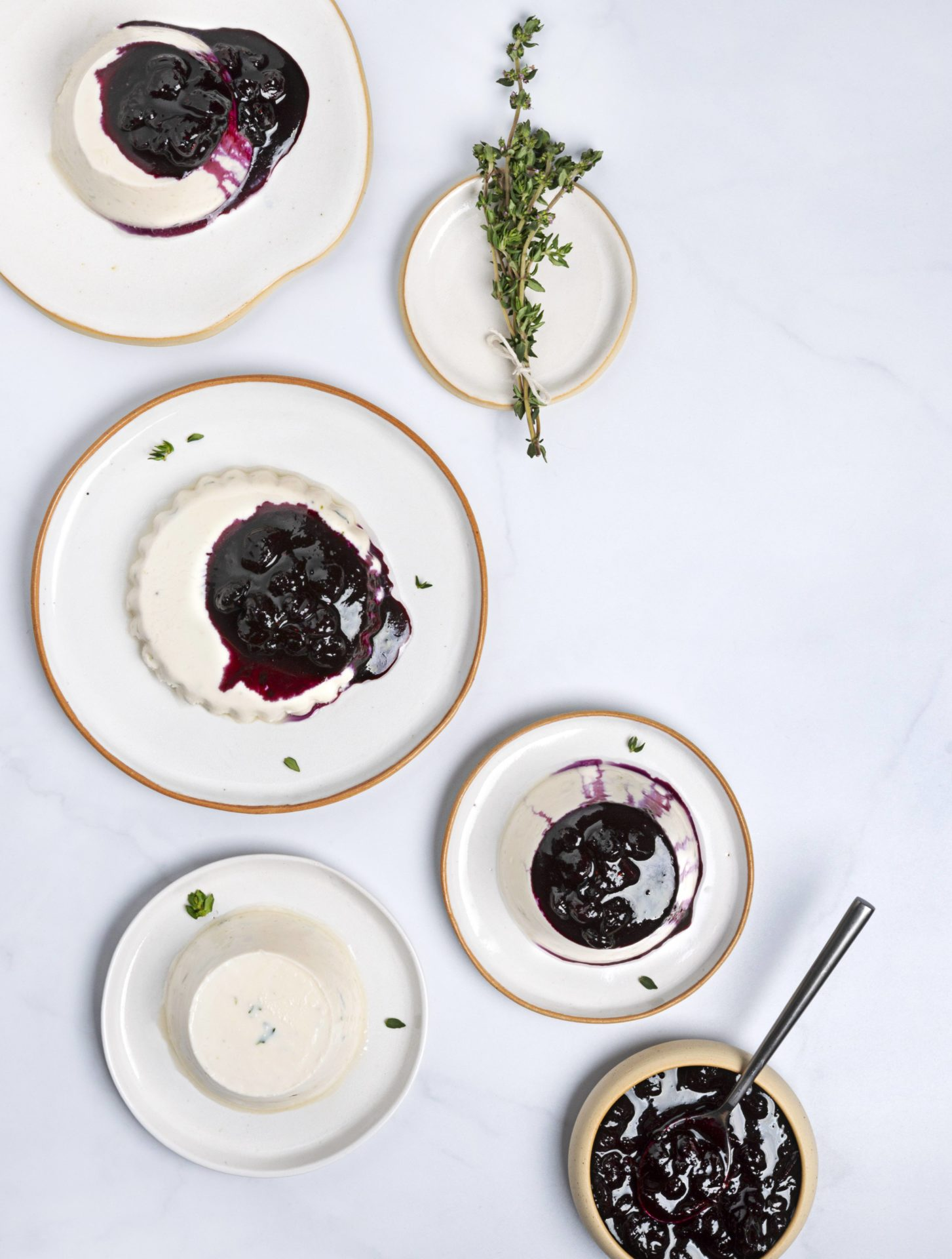 vegan desserts coconut Panna cotta with blueberry topping