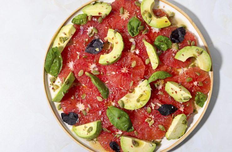 Avocado and basil salad with grapefruit recipe